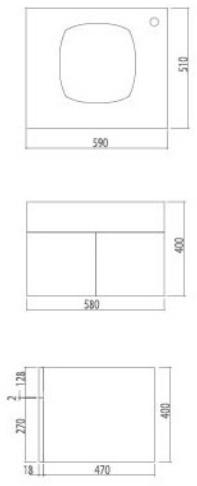 VC0202ตู้เก็บของใต้อ่างล้างหน้าแบบแขวนผนังสำหรับอ่าง Neo C00027 , C0003 Tess