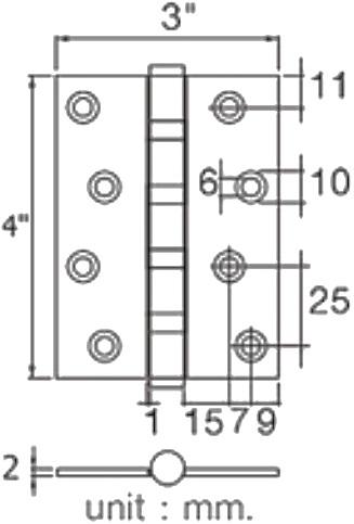 HQ448-000432 บานพับประตู ขนาด 4*3*2 มม.(แพ็ค 3 ชิ้น) - HOY