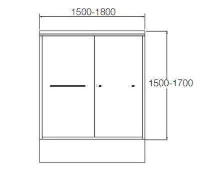 K-36964X-CR1-SHP ฉากกั้นอ่างอาบน้ำบานเลื่อน สีเงิน กระจกเคลือบ รุ่น พาราเรล ขนาด 1600 x 1500 มม.
