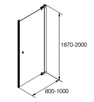 K-37458X-C-SHP ฉากกั้นอาบน้ำ บานเดี่ยว บานเปิด กึ่งบานเปลือย สีเงิน กระจกเคลือบ รุ่น แมทเทีย ขนาด 800 x 1900 มม.
