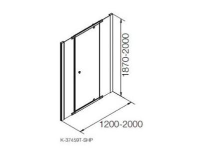 K-37459X-C-SHP ฉากกั้นอาบน้ำแบบเปิด กึ่งบานเปลือยสีเงิน กระจกเคลือย 1 บานเปิด 2 บานปิดถาวร รุ่น แมทเทีย ขนาด 1300 x 1900 มม.