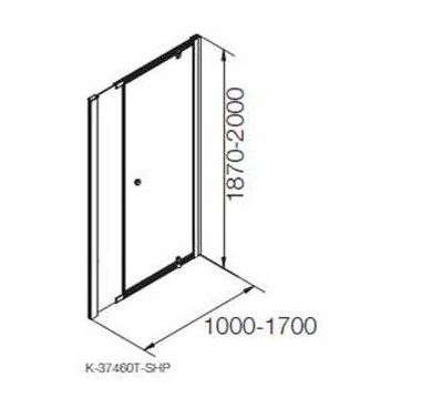 K-37460X-C-SHP ฉากกั้นอาบน้ำแบบเปิด กึ่งบานเปลือย สีเงินกระจกเคลือบ 1 บานเปิด 1 บานปิดถาวร  รุ่นแมทเทีย ขนาด 1000 x 1900 มม.
