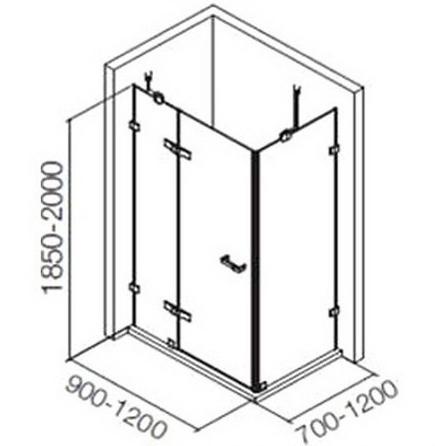 K-36950X-C-SHP ตู้อาบน้ำเปลือยแบบพับ L-Shape 1 บานเปิด 2 บานปิดถาวร รุ่น ซิงกูลิเย่ 1100 x 1000 x 1900 มม.