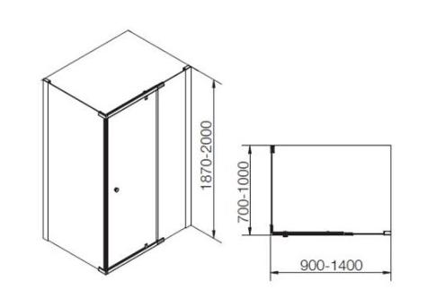 K-37462X-C-SHP ตู้อาบน้ำแบบเปิด กึ่งบานเปลือย L-Shape สีเงิน กระจกเคลือบ รุ่น แมทเทีย ขนาด 1000 x 1000 x 1900 มม.
