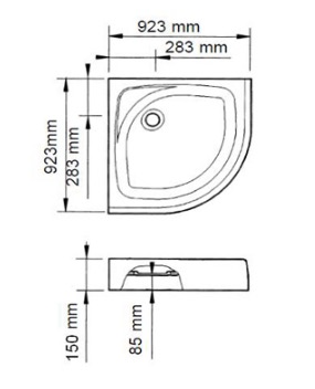 K-17226X-DR-0 ถาดรองอาบน้ำแบบโค้งสีขาว พร้อมสะดือน้ำทิ้ง ขนาด 923 x 923 x 150 มม.