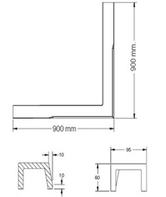 K-37069X-0 ธรณีประตู L-Shape เข้ามุม สีขาว คอนเทม ขนาด 900 x 900 x 60 มม.
