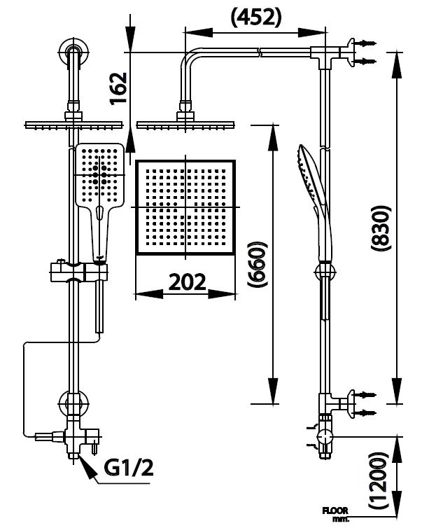 CT623Z95Z89ชุดฝักบัวยืนอาบ ประกอบด้วยฝักบัวก้านแข็งขนาด 8x8 นิ้ว และฝักบัวสายอ่อน 3 ฟังก์ชั่น (ปุ่มกดเปลี่ยนฟังก์ชั่น)
