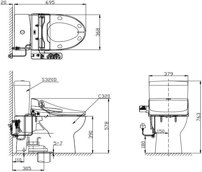 CST320W4 สุขภัณฑ์ แบบสองชิ้น 4.5/3 ลิตร ( CST320T + TCF6631A ) - TOTO