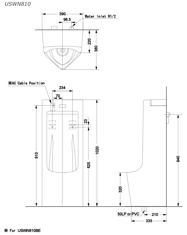 USWN810B โถปัสสาวะชาย แบบตั้งพื้น พร้อมฟลัชวาล์วระบบเซ็นเซอร์ในตัว (แบตเตอรี่) - TOTO
