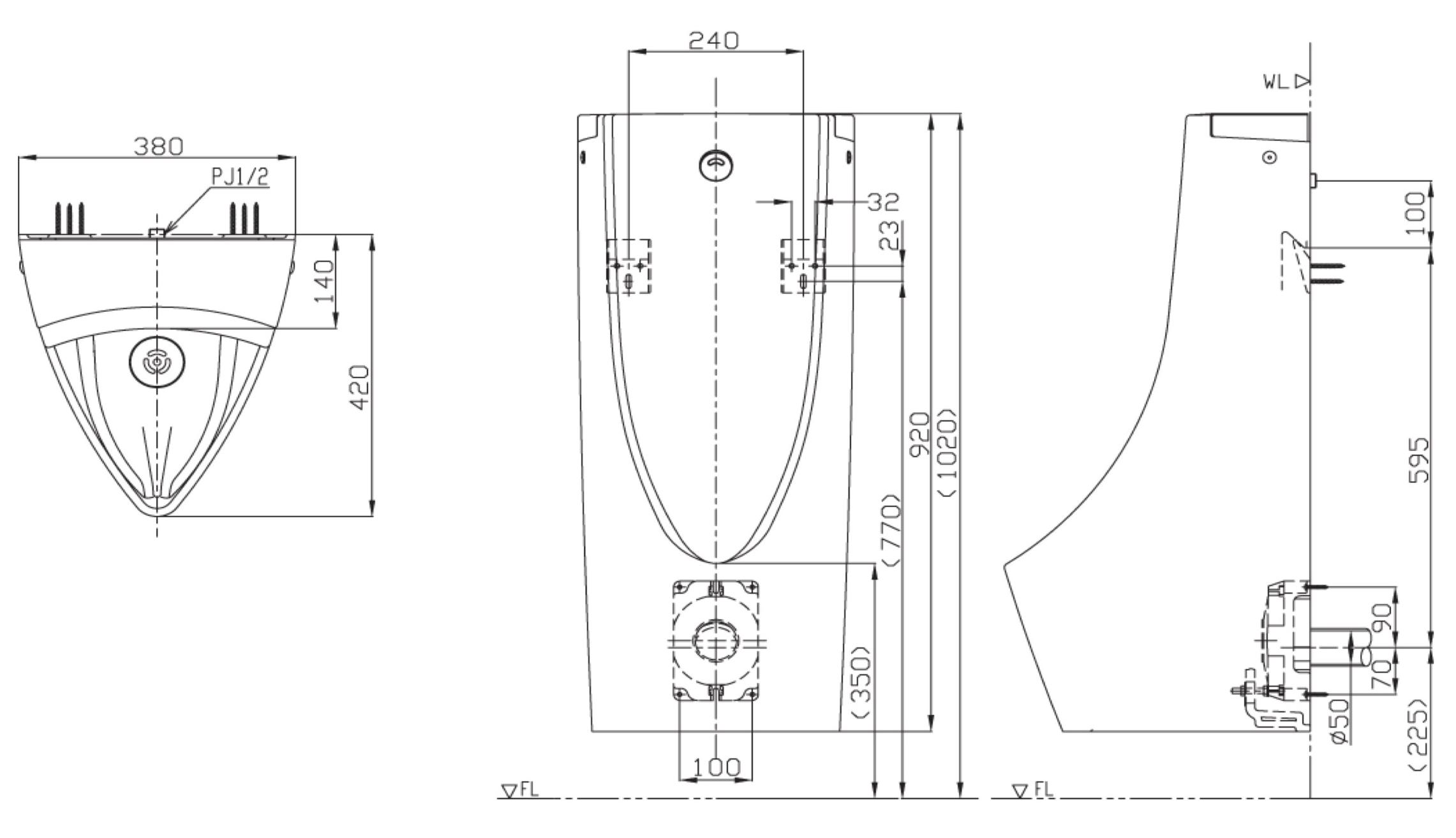 USWN900A โถปัสสาวะชายแบบแขวนผนัง พร้อมฟลัชวาล์วระบบเซ็นเซอร์ในตัว (แบตเตอรี่) - TOTO
