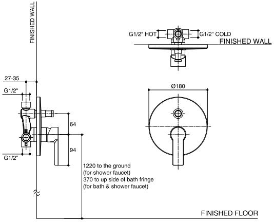K-98084X-ZZ-CP วาล์วผสมเปิด-ปิดน้ำพร้อมที่สลับทางน้ำแบบก้านโยกชนิดฝังผนัง รุ่น OVIA