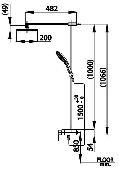 CT2240W ก๊อกผสมยืนอาบน้ำพร้อมฝักบัวสายอ่อนและฝักบัวก้านแข็ง รุ่น SOLEX