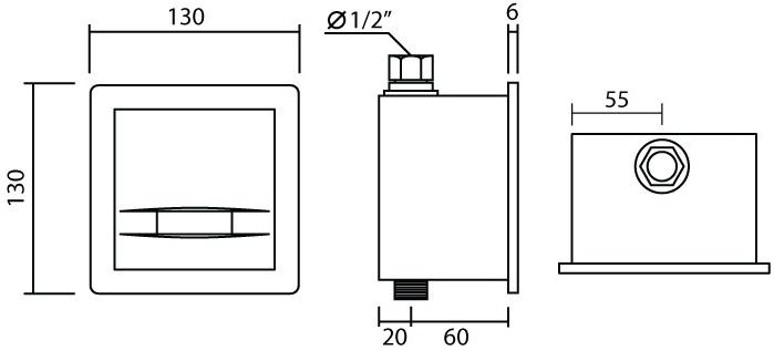 MU-102-1 ฟลัชวาล์วโถปัสสาวะชาย แบบเซ็นเซอร์