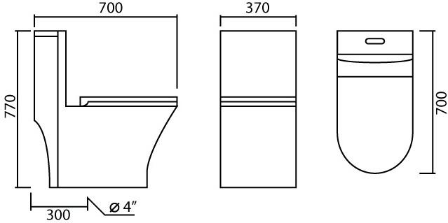 MCM2085 โถสุขภัณฑ์ แบบชิ้นเดียว 3/6 ลิตร ท่อลงพื้น