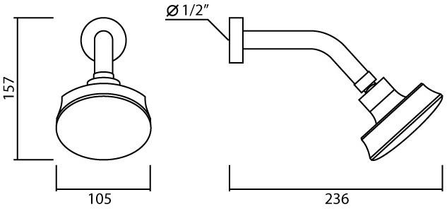 ML-H12 ฝักบัวก้านแข็ง แบบก้านเล็ก ปรับน้ำ 1 ระดับ