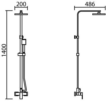 ML-MD7101 วาล์วผสมอ่างอาบน้ำพร้อมชุดฝักบัว RAIN SHOWER และ ฝักบัวสายอ่อนครบชุด ปรับน้ำ 1 ระดับ