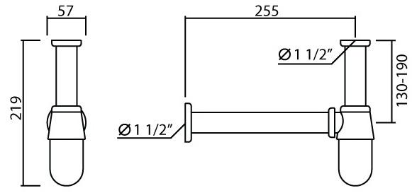 W-026 ท่อน้ำทิ้งแบบกระปุก ยาว 25 ซม.