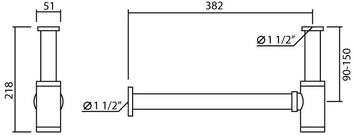 W-028 ท่อน้ำทิ้งแบบกระปุก ยาว 38 ซม.