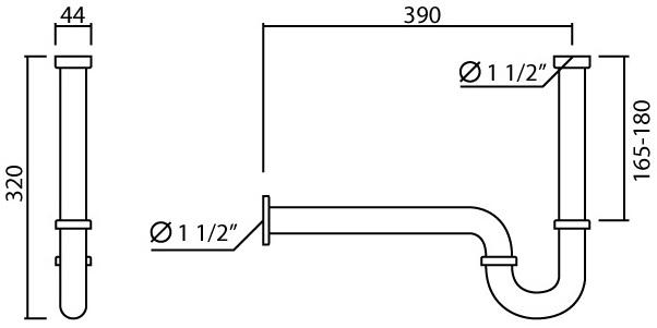 W-029 ท่อน้ำทิ้งแบบ P-TRAP ยาว 39 ซม.