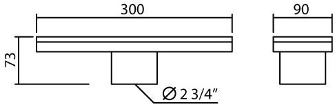 MAF-102A/30 ตะแกรงกันกลิ่น ขนาด 90X300 มม. ขนาดท่อ 2 นิ้ว
