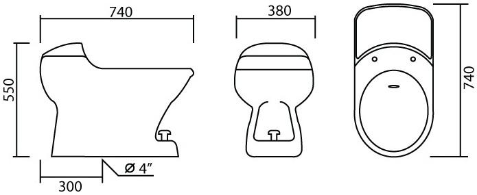 MUW-102 โถชักโครก ประหยัดน้ำ 1 ลิตร