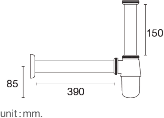 FAVHL-AD390Sท่อน้ำทิ้ง bottle trap สแตนเลส 201 ยาว 390 มม.