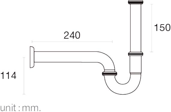 FAVHL-AP240Sท่อน้ำทิ้ง P-TRAP สแตนเลส 201 ยาว 240 มม.