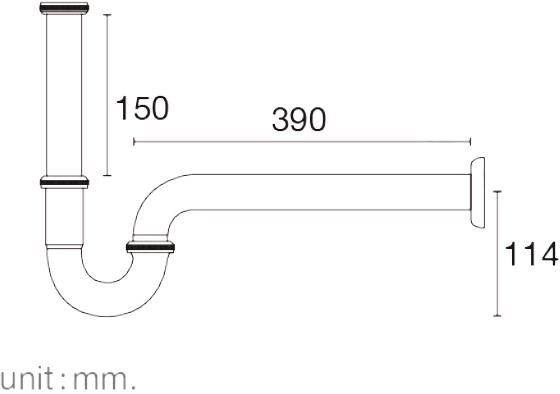 FAVHL-AP390Sท่อน้ำทิ้ง P-TRAP สแตนเลส 201 ยาว 390 มม.