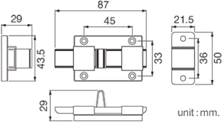"RB961-001SUSกลอนห้องน้ำสเตนเลส 2.5"" - HOY"