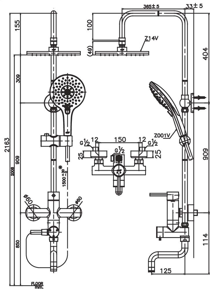 CT5101W ก๊อกผสมยืนอาบพร้อมฝักบัวสายอ่อน 3 ฟังก์ชั่นและฝักบัวก้านแข็งขนาด 8 นิ้ว