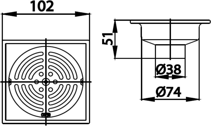 CT640Z2P(HM) ตะแกรงกันกลิ่นสเตนเลสเหลี่ยมติดตั้งกับท่อพีวีซีขนาด 1.5-3 นิ้ว - COTTO
