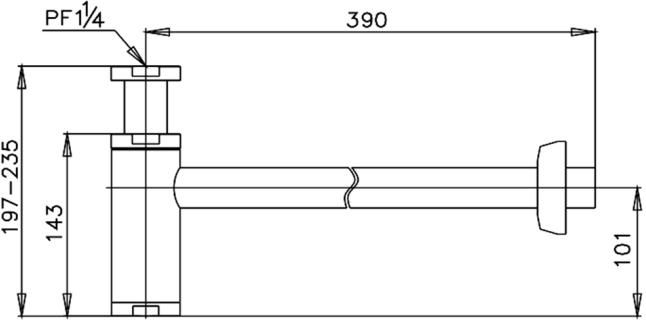 CT685AX#BL(HM) ท่อน้ำทิ้งอ่างล้างหน้าทรงกระบอก ยาว 39 ซม. - COTTO