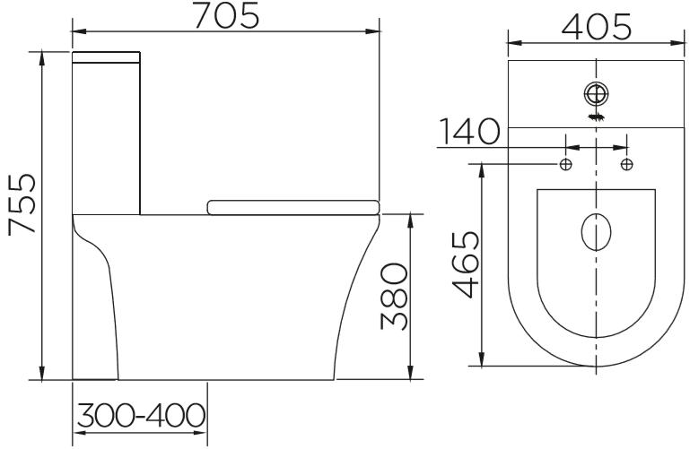 ECT-03-221D-11 สุขภัณฑ์ แบบสองชิ้น 3/6 ลิตร