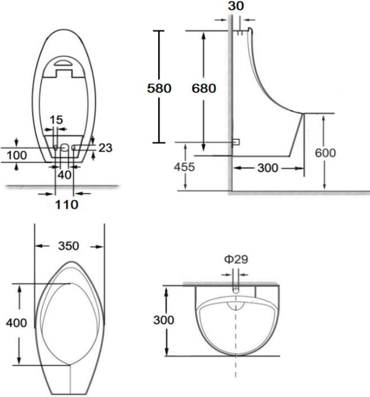 ECU-01-221-11 โถปัสสาวะชาย แบบแขวนผนัง