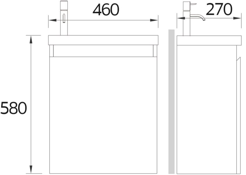 EWB-02-502-02 อ่างล้างหน้าพร้อมตู้เฟอร์นิเจอร์ แบบแขวนผนัง