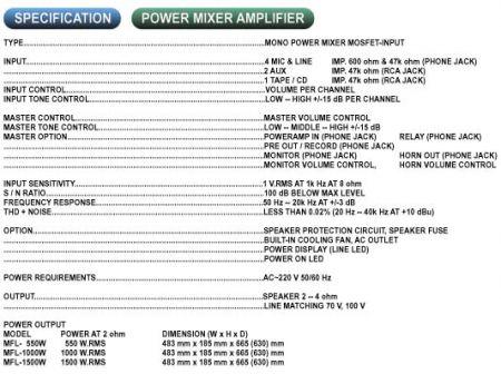 โมโนเพาเวอร์มิกเซอร์ มอสเฟต1500 วัตต์ MUSIC MFL-1500W ขาย ราคา เครื่องขยายเสียงตามสาย