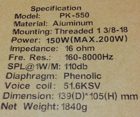 ยูนิตลำโพงฮอร์น PK-550 150วัตต์ 16โอห์ม