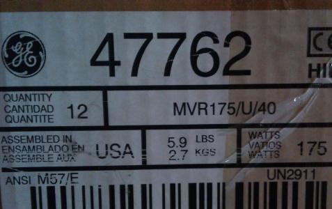 GE 47762 MVR175//U//40