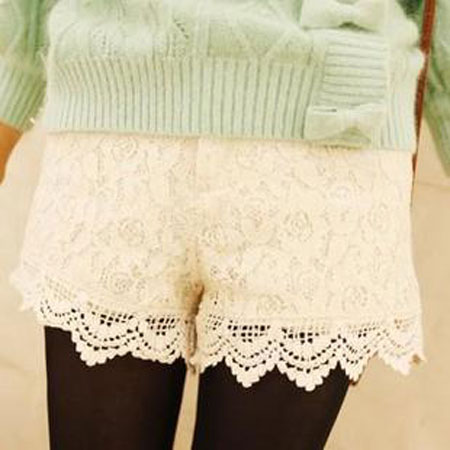 กางเกงขาสั้น ผ้าลูกไม้แต่งโครเชต์-กางเกงแฟชั่นเกาหลี