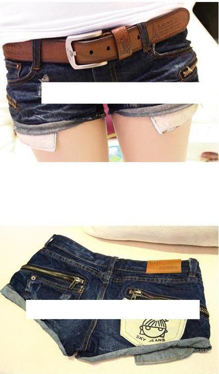 กางเกงยีนส์ขาสั้น แต่งซิปข้าง กระเป๋าหลังตัดสี-กางเกงยีนส์แฟชั่น
