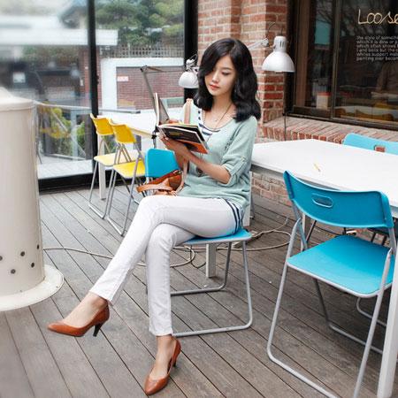 กางเกงสกินนี่ ขายาว สีพื้น แฟชั่นชุดทำงานเกาหลี