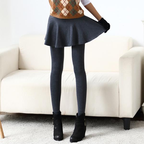 กางเกงเลกกิ้งกันหนาว เย็บซ้อนกระโปรงบาน รุ่นหนามีซับกำมะหยี่
