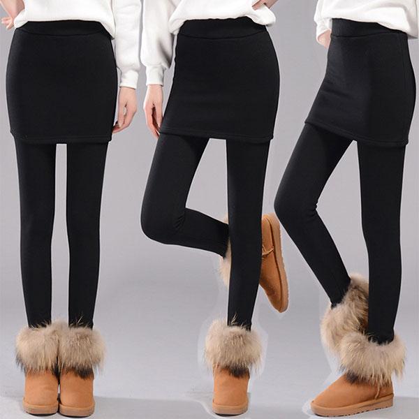 กางเกงเลกกิ้งกันหนาว เย็บซ้อนกระโปรงทรงเอ รุ่นหนามีซับกำมะหยี่