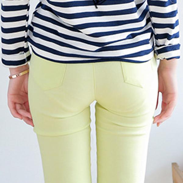 กางเกงขายาวทรงสกินนี่ ผ้าคอตตอนนิ่มสีพื้น