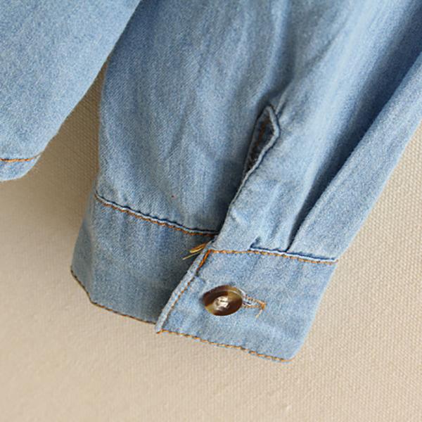 เสื้อเชิ้ตยีนส์แฟชั่นวินเทจ แขนยาวมีสเนป สกรีนลายน่ารัก
