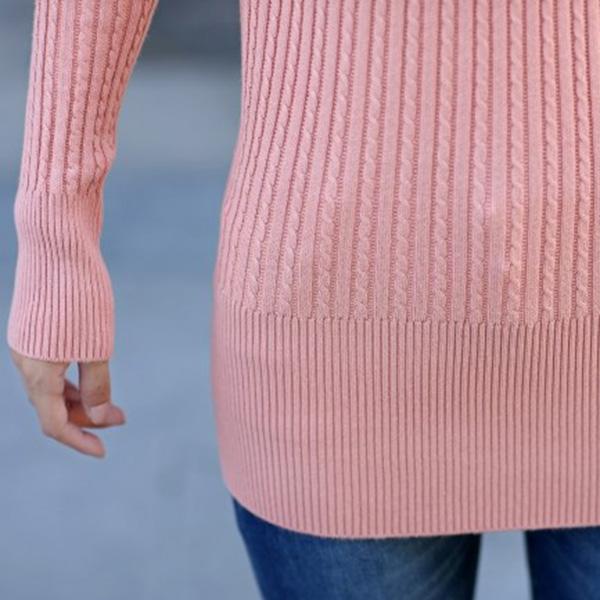 เสื้อคอเต่า เสื้อคอพับไหมพรมนิ่มถักลายนูน แขนยาว แฟชั่นหน้าหนาว