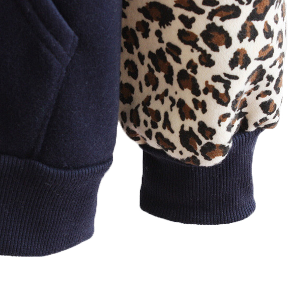 เสื้อกันหนาว เสื้อสเวตเตอร์มีฮู้ด แต่งผ้าลายเสือ ซับผ้าสำลีอุ่น