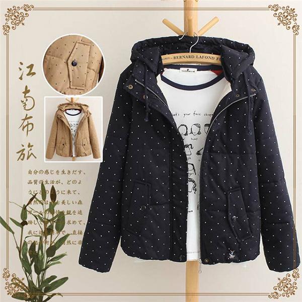 เสื้อแจ็คเก็ตกันหนาว ฮู้ดถอดได้ ผ้าลายจุดซับผ้ากำมะหยี่เต็มตัว