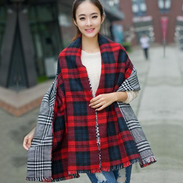 ผ้าพันคอ ผ้าคลุมไหล่ผ้าหนานุ่มทอลายใช้ได้สองด้าน ผืนใหญ่