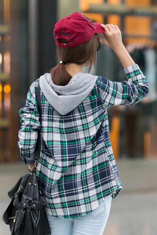 เสื้อกันหนาว เสื้อแจ็คเก็ตแขนยาว มีฮู้ด ผ้าทอนิ่มลายสก็อต